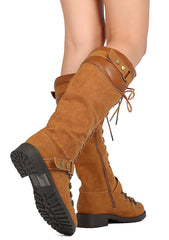 TRAVIS22 CAMEL LACE UP DUAL SNAP STRAP UTILITY LUG SOLE KNEE HIGH BOOT - Wholesale Fashion Shoes - 2