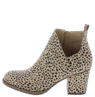 Valentina5 Cheetah Chunky Heel Ankle Boot - Wholesale Fashion Shoes