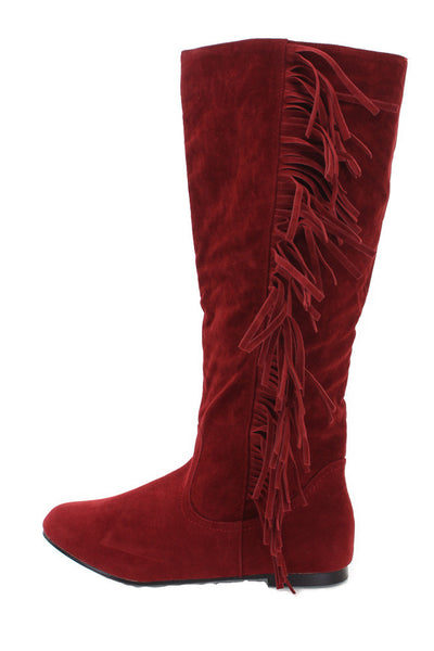 Vicki21 Red Suede Fringe Side Flat Boot - Wholesale Fashion Shoes