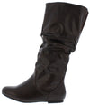 Vickiekh Brown Pu Pull On Knee High Boot - Wholesale Fashion Shoes