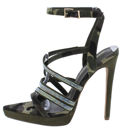 Vital Camouflage Pointed Open Toe Rhinestone Strappy Stiletto Heel - Wholesale Fashion Shoes