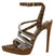 Vital Leopard Pointed Open Toe Rhinestone Strappy Stiletto Heel