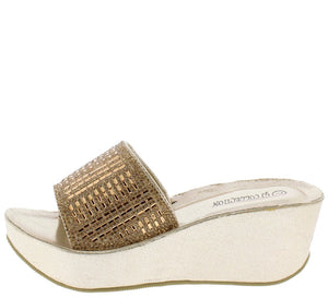 0fd417ddb605 Hailey030 Gold Sparkle Metallic Mule Platform Wedge - Wholesale Fashion  Shoes