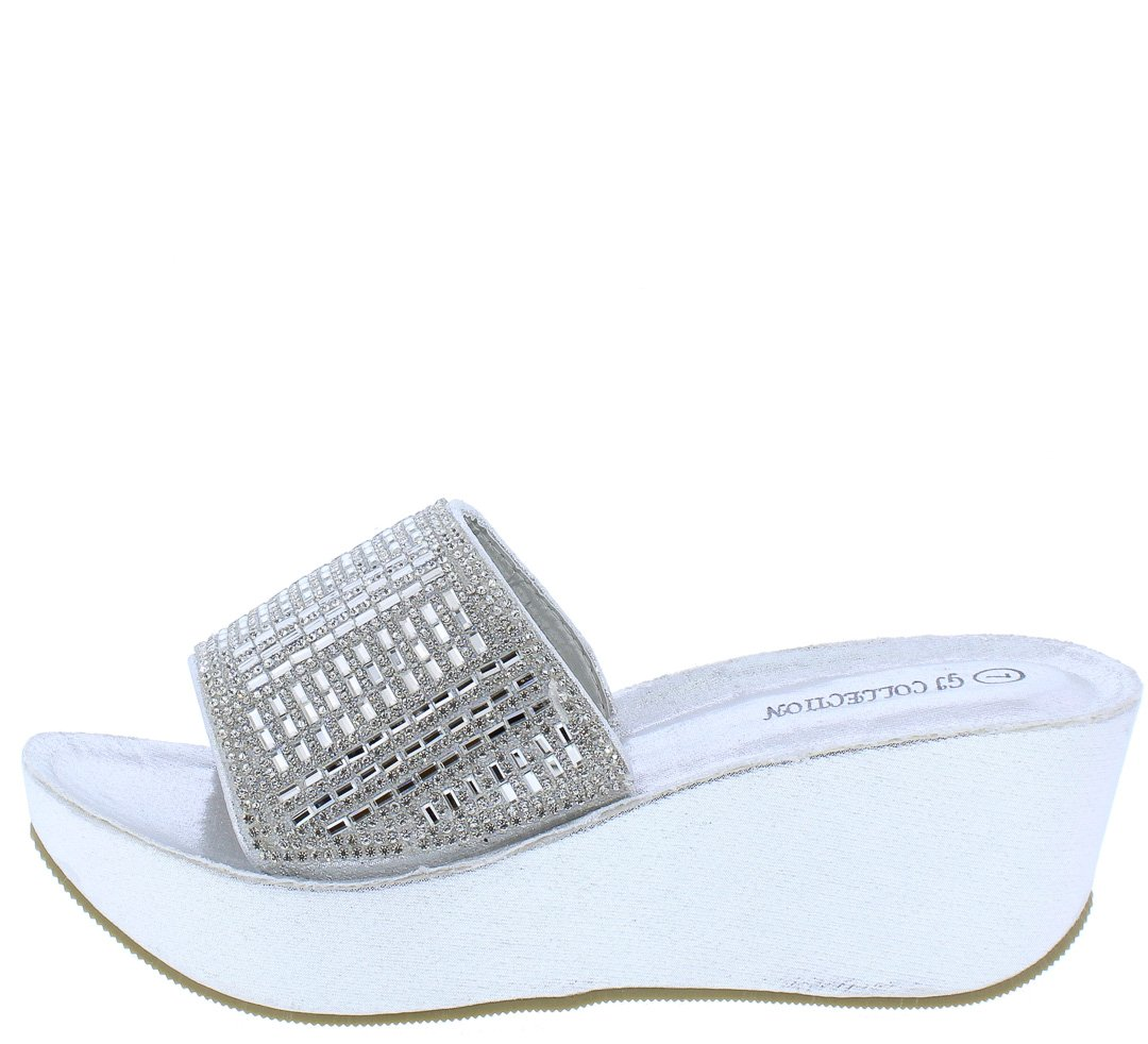 4a0eb9b94fe Hailey030 Silver Sparkle Metallic Mule Platform Wedge - Wholesale Fashion  Shoes
