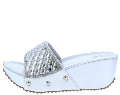 Isabella032 Silver Sparkle Embellished Lug Sole Mule Wedge - Wholesale Fashion Shoes