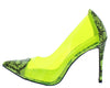 Woolf Lime Pointed Toe Lucite Stiletto Pump Heel - Wholesale Fashion Shoes
