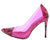 Woolf Pink Pointed Toe Lucite Stiletto Pump Heel