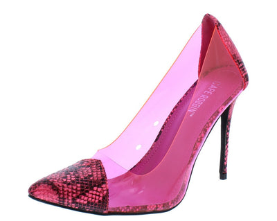 Woolf Pink Pointed Toe Lucite Stiletto Pump Heel - Wholesale Fashion Shoes