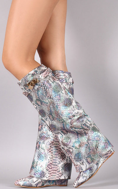 Zoto1 Snake Pointed Toe Discrete Wedge Knee High Boot - Wholesale Fashion Shoes