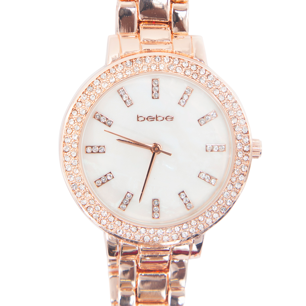 BEBE Rose Gold Watch with Stones - BEB5642