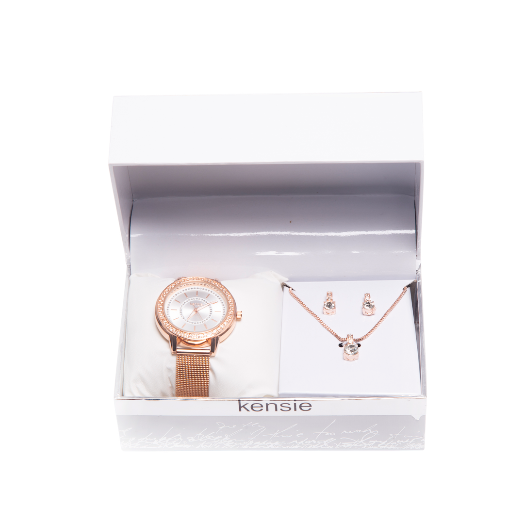 Kensie Rose Gold Watch and Necklace Set- KEN9092