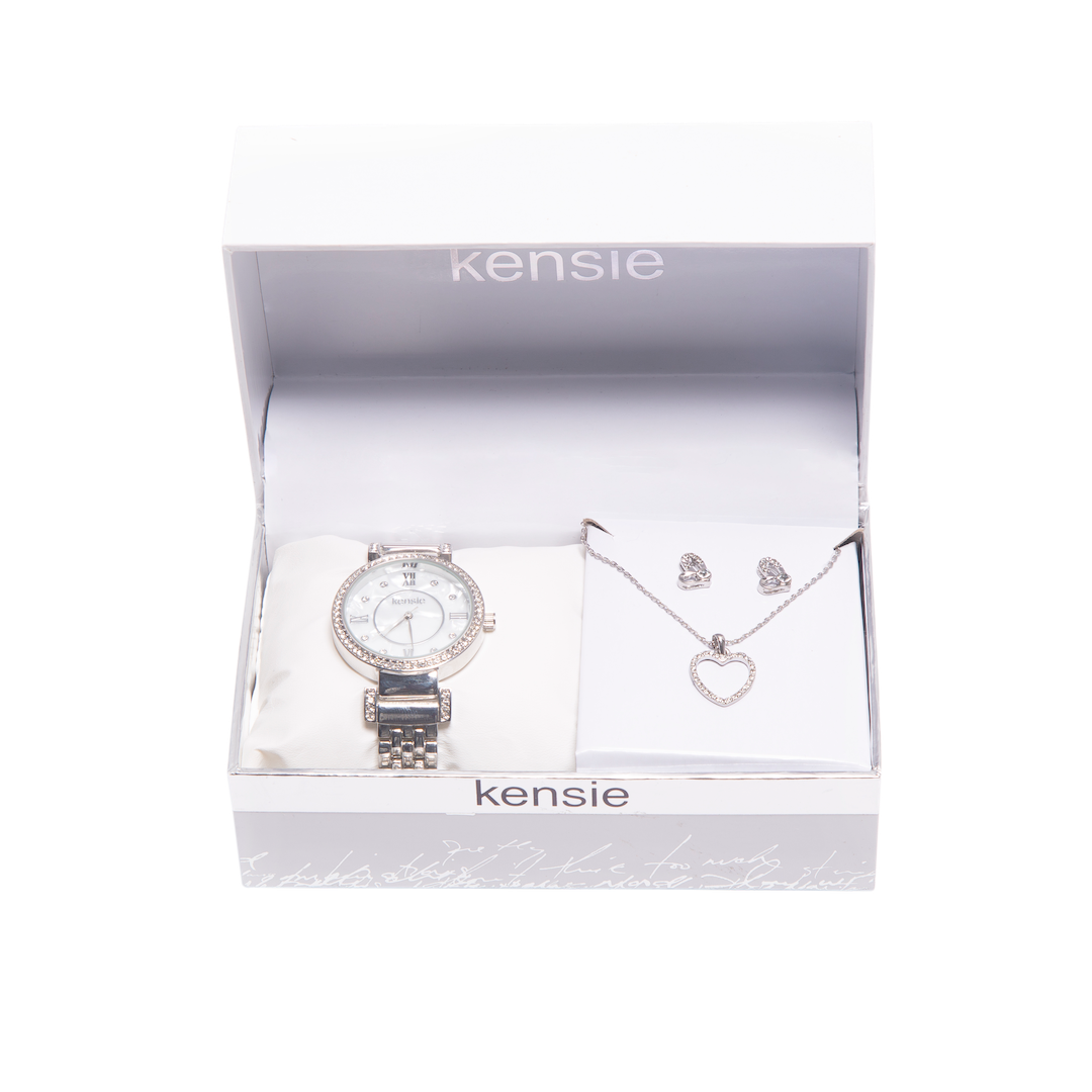 Kensie Silver Watch and Heart Necklace Set- KEN9123