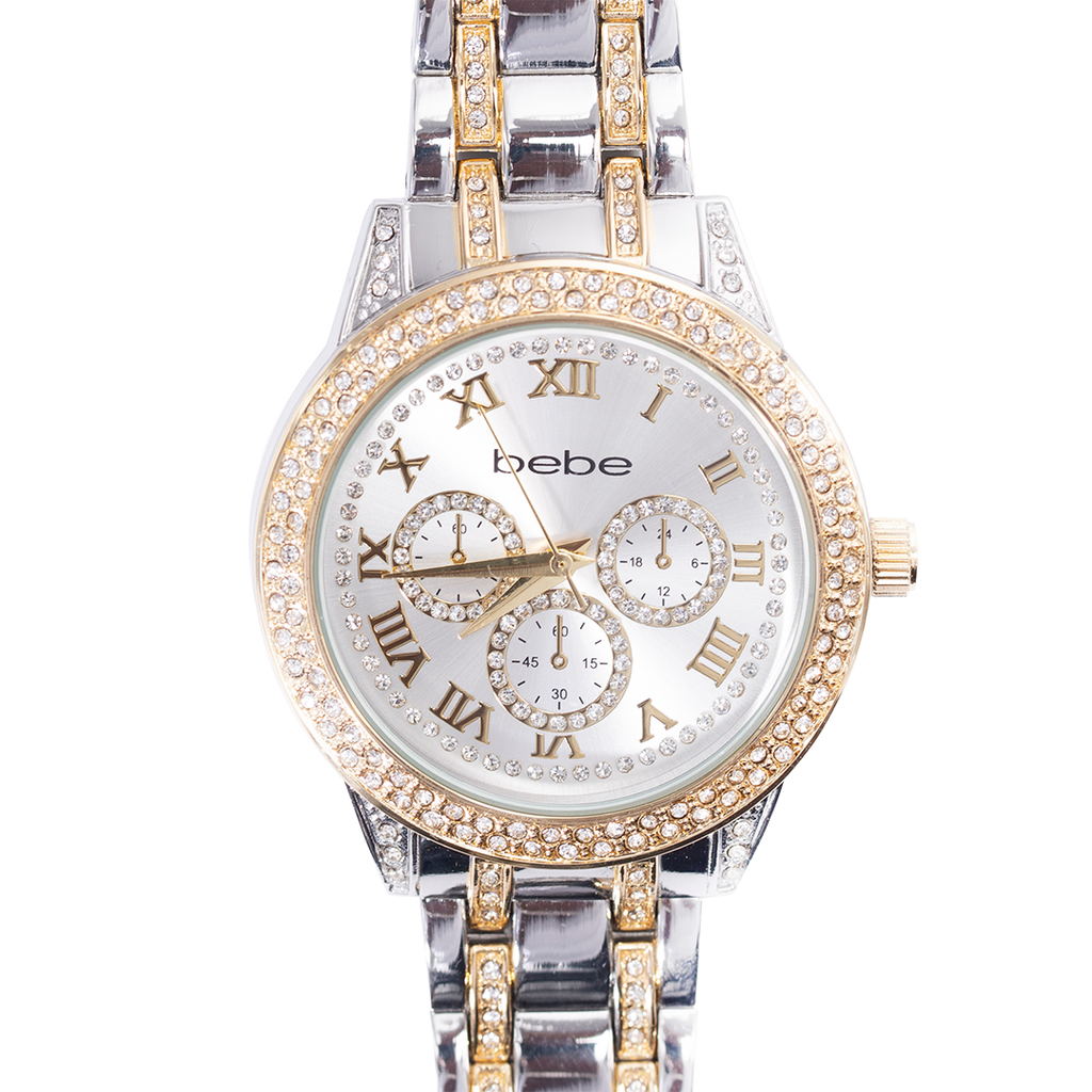 BEBE Gold & Silver Two-Toned Watch with Gemstones - BEB5363