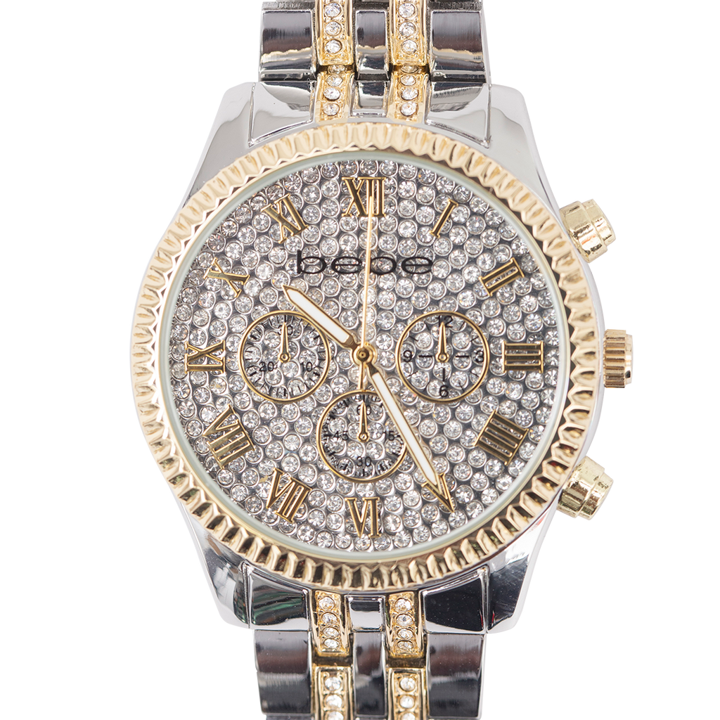BEBE Gold & Silver Two-Toned Watch with Stones - BEB5406