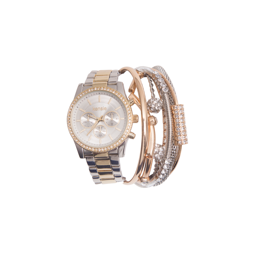 Kensie Silver and Gold Watch and Bracelet Set- KEN9040