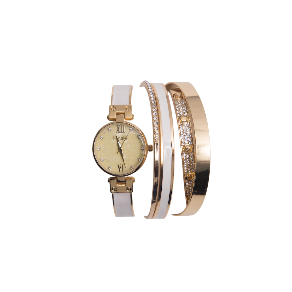 Kensie White and Gold Watch and Bracelet Set- KEN9136