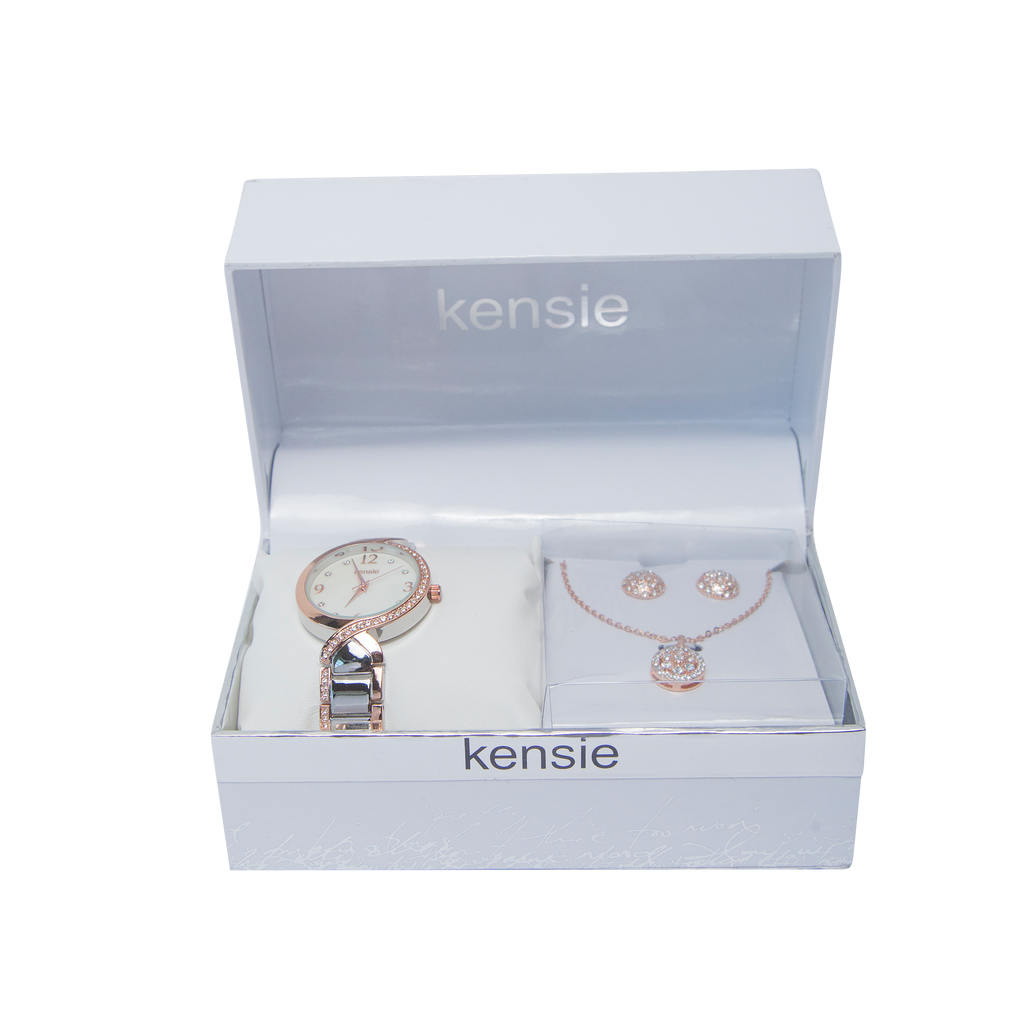 Kenise Two Tone Watch and Necklace Set - KEN9116