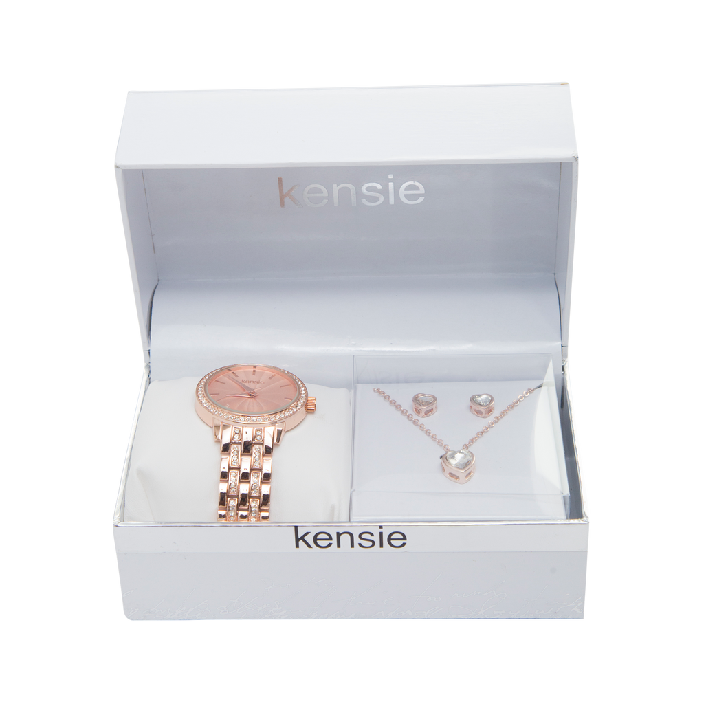Kensie Rose Gold Watch with Crystal Heart Necklace Set - KEN9087