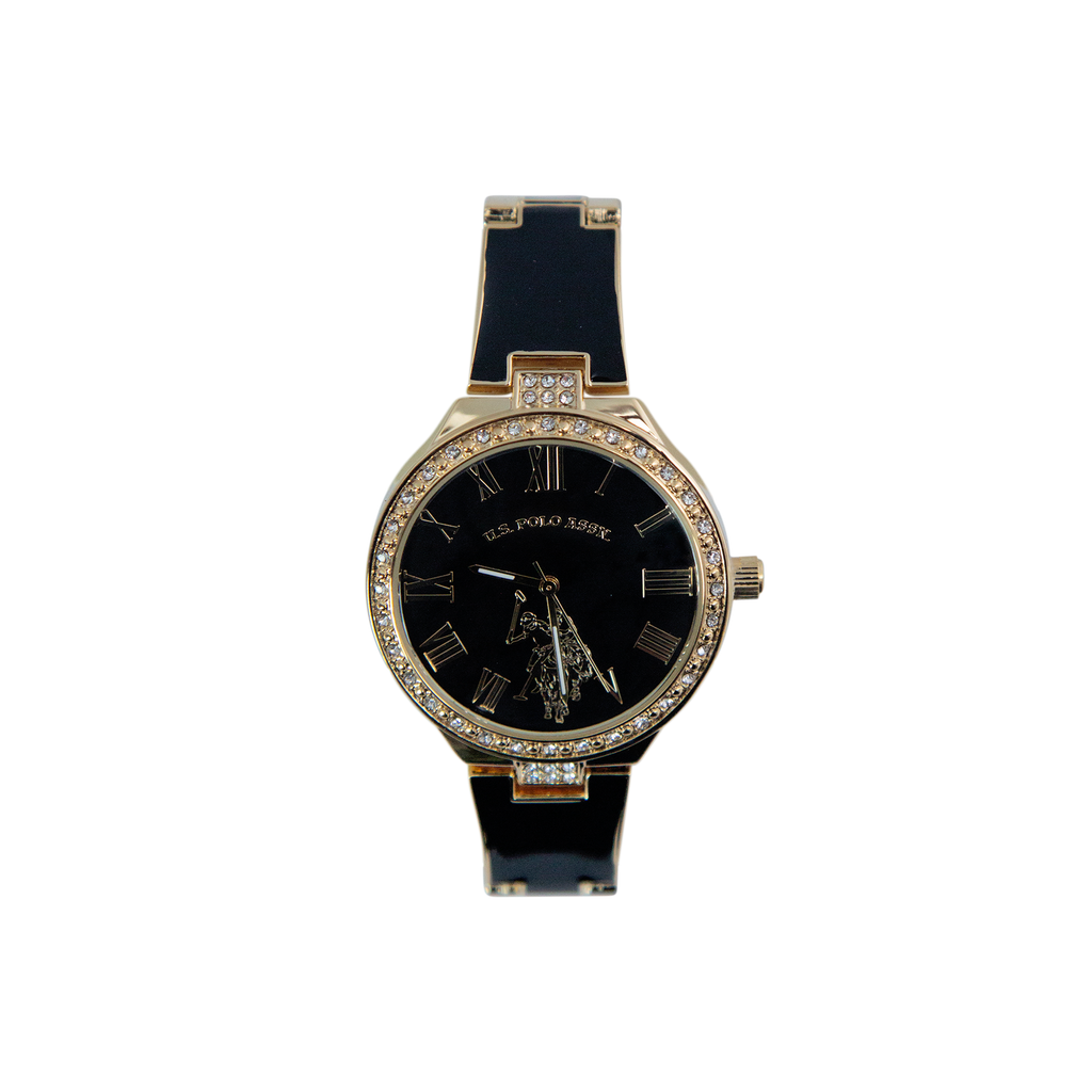 US Polo Black and Gold Watch with Crystal Accents – USC40320