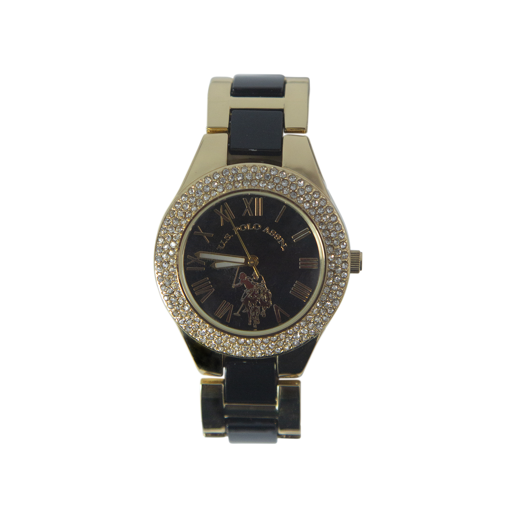 US Polo Black and Gold Watch with Crystal Accents – USC40249