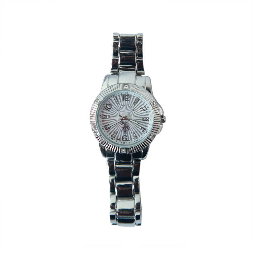 US Polo Silver Watch with Crystal Accents – USC40418