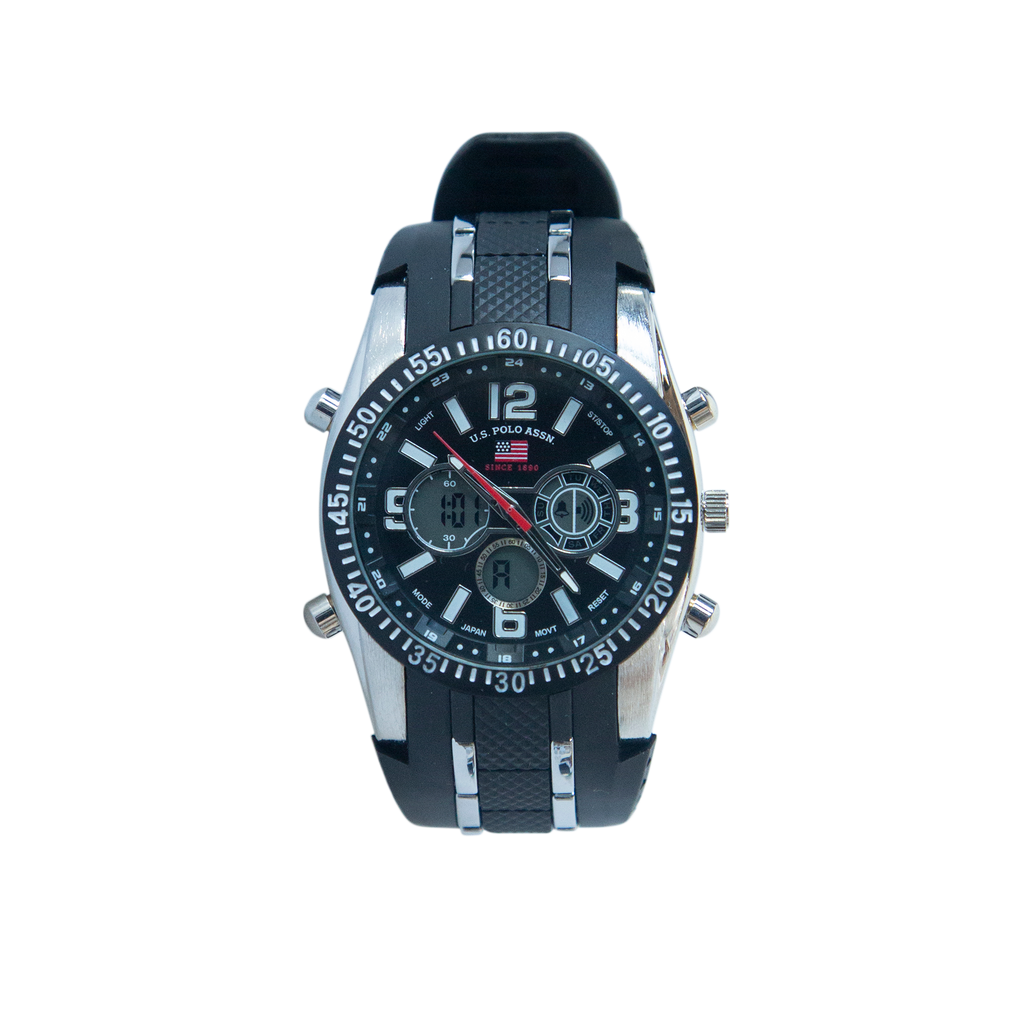 US Polo Black and Silver Watch with Silicon Strap – US9281
