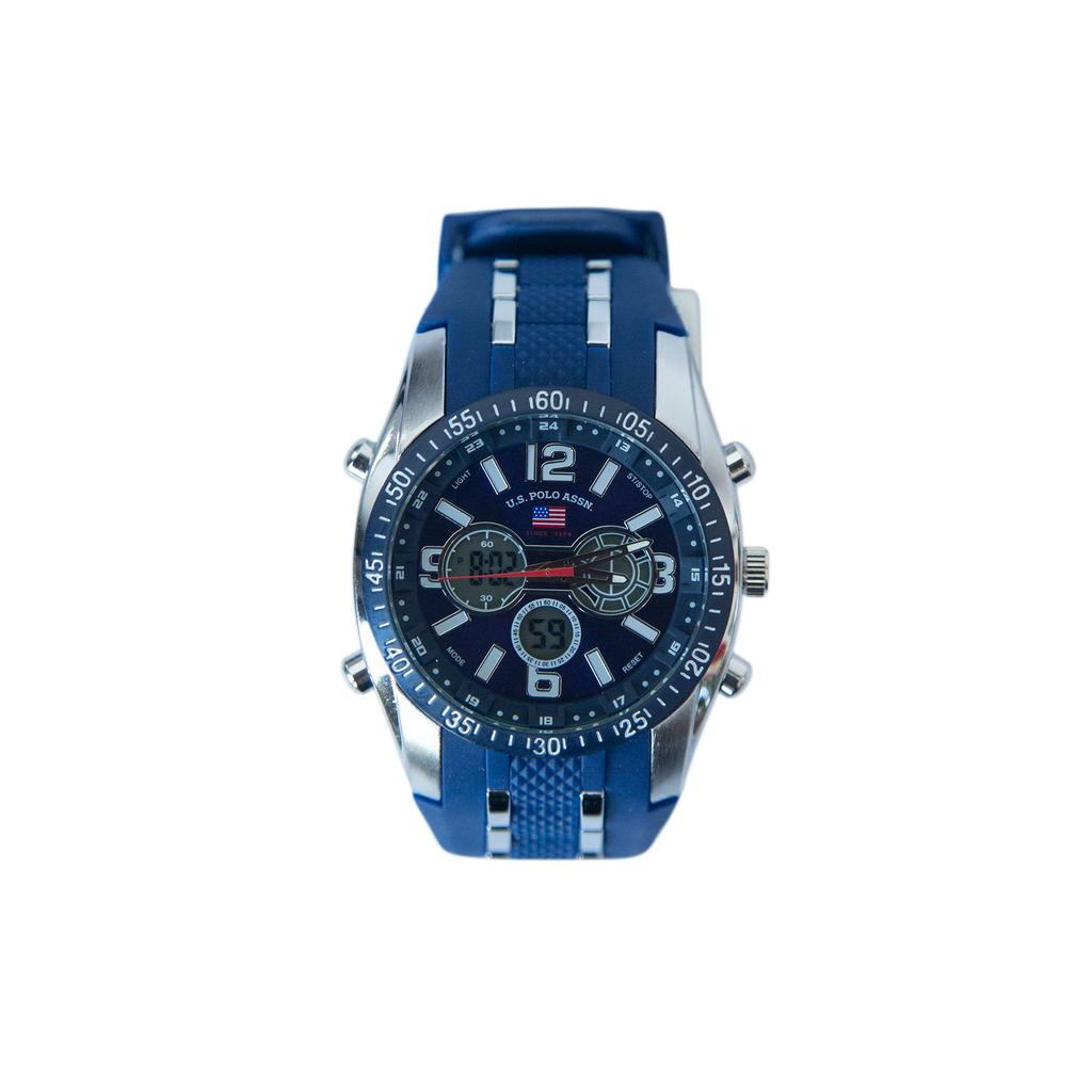 US Polo Blue and Silver Watch with Silicon Strap – US9284