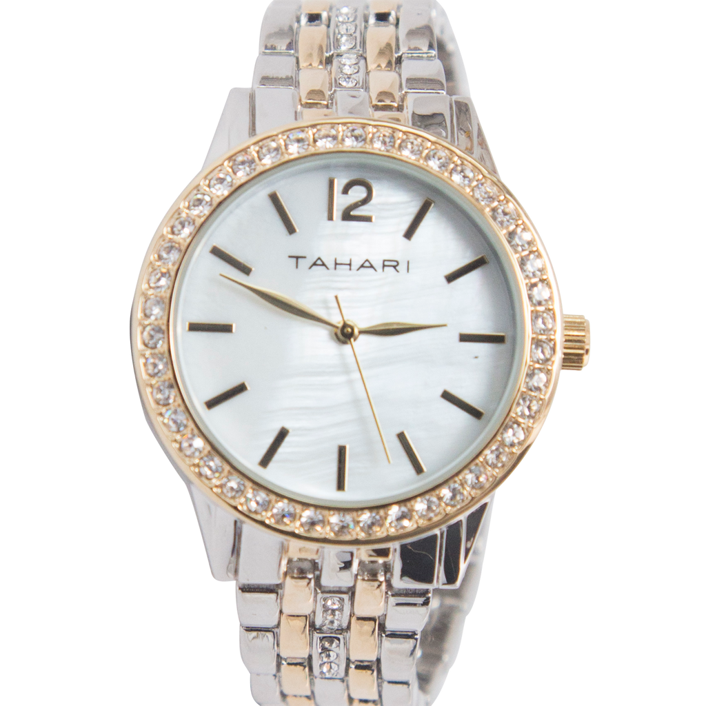 Tahari Two Tone Watch with Crystal Band and Accents - TAH5144