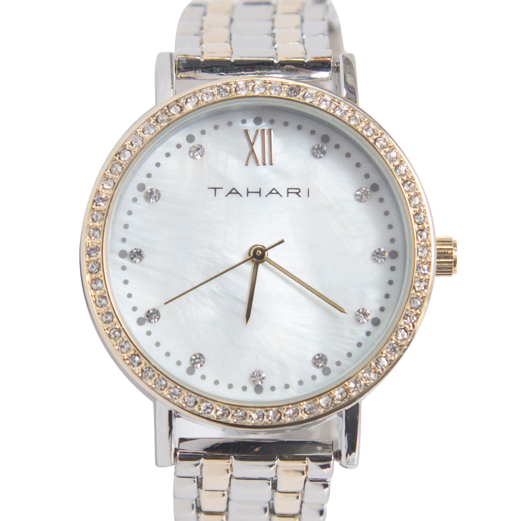 Tahari Gold and Silver Watch with Crystal Embellishments - TAH5163