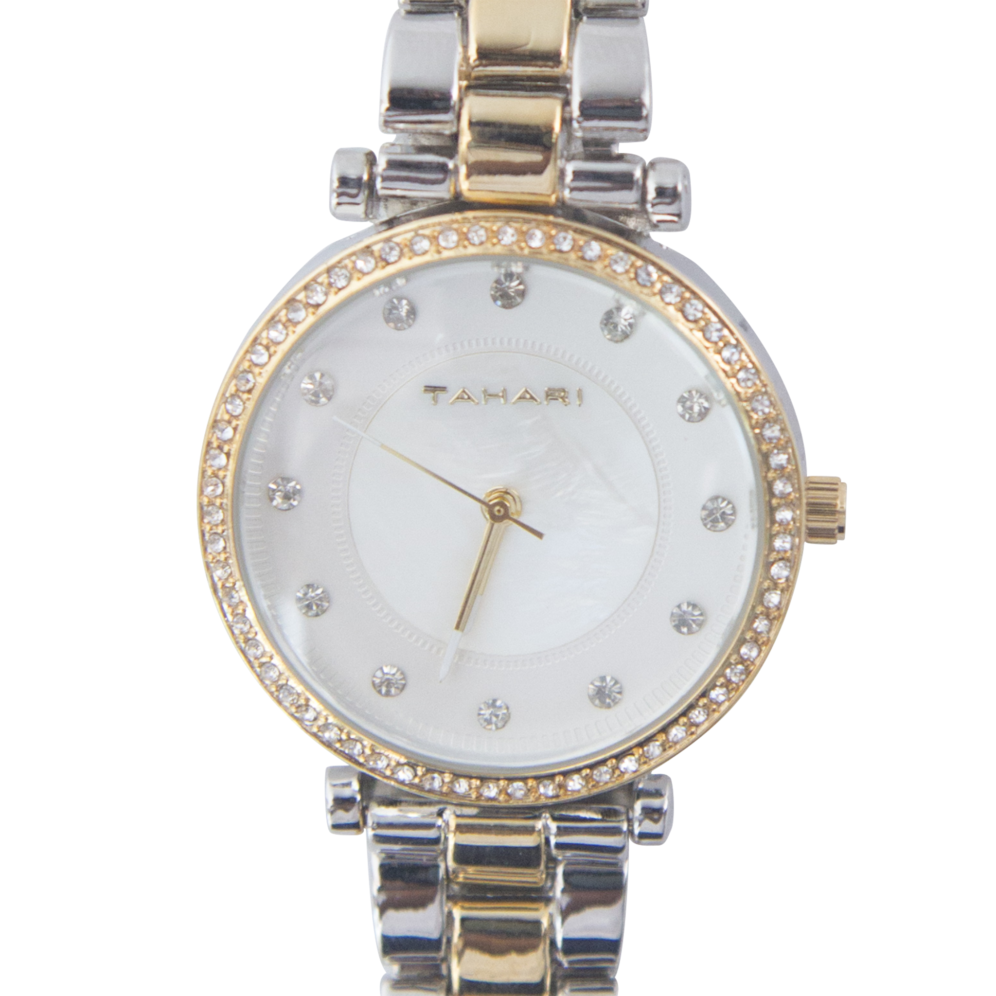 Tahari Two Tone Silver and Gold Watch with Crystal Accents - TAH5134
