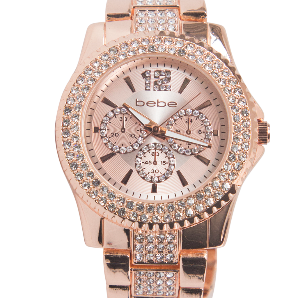 Bebe Rose Gold Watch with Crystal Band and Accents - BEB5690