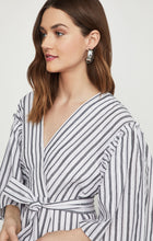 Load image into Gallery viewer, Striped Faux Wrap Robe Dress