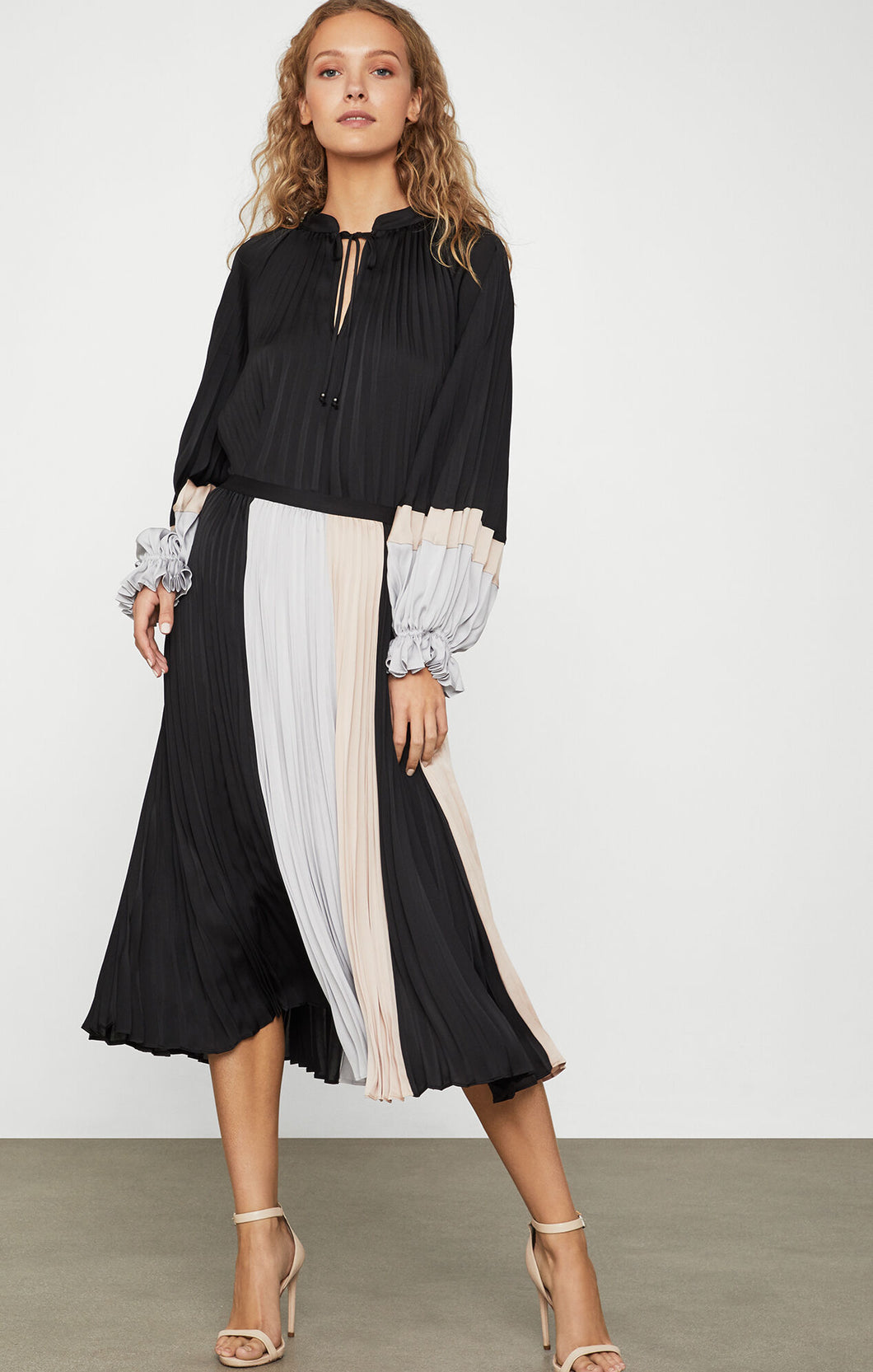 Colorblock Plisse Midi Skirt