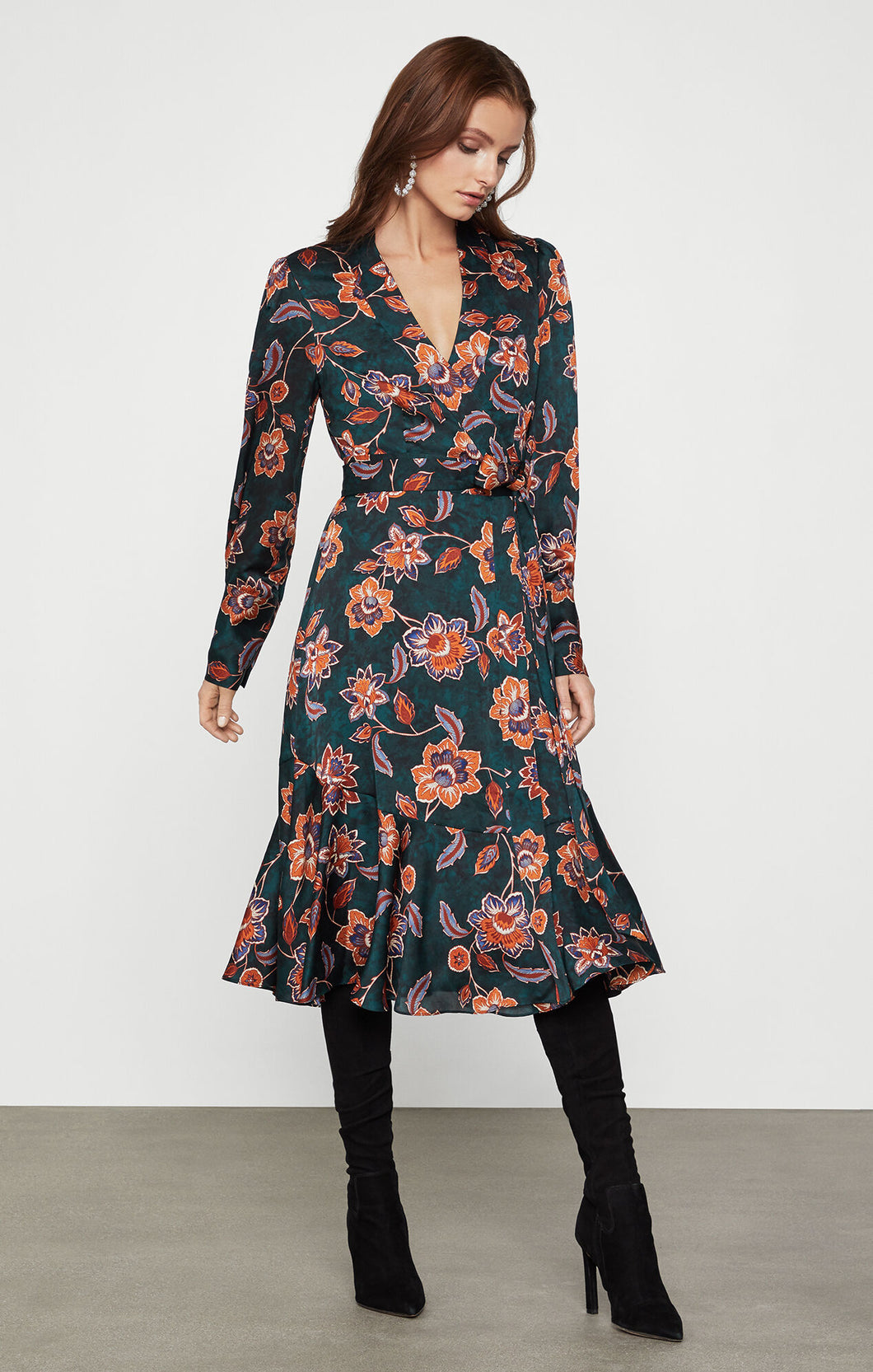 Floral Satin Day Dress