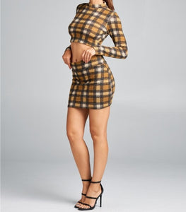 Plaid Crop top & Skirt Set