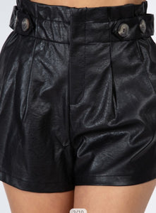 Leather Paperbag Shorts
