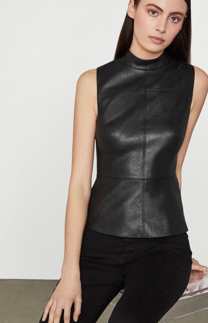 Faux Leather Shell Top