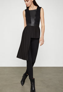 Pleather-Trimmed Asymmetrical Top