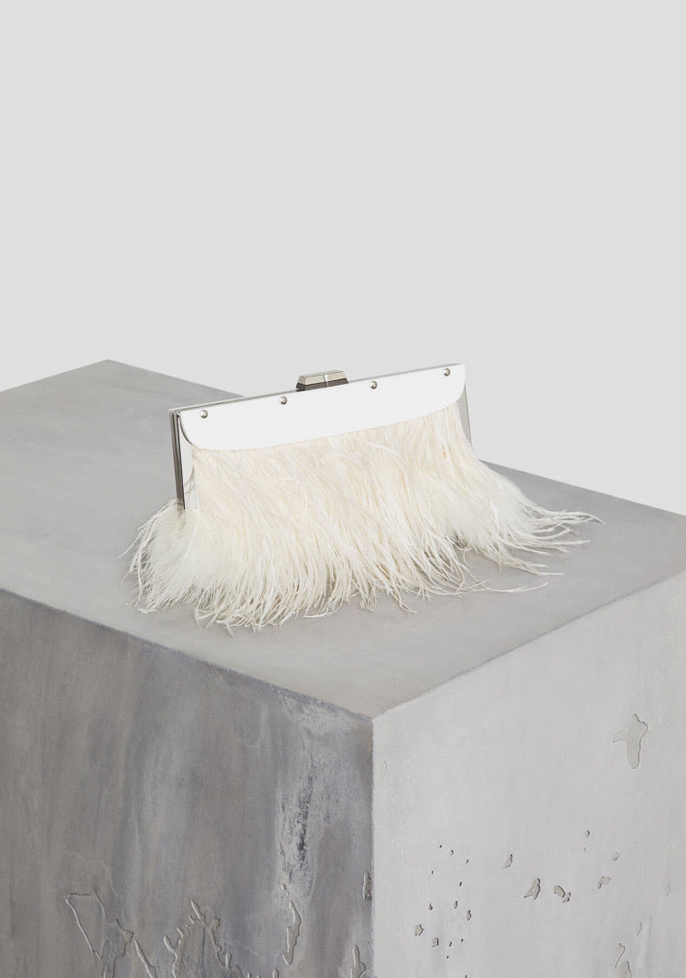 Catarina Feather-Trimmed Clutch BCBG