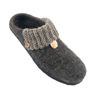 Men's Wool Felt Scuff Slippers NATURAL RUBBER CREPE Sole