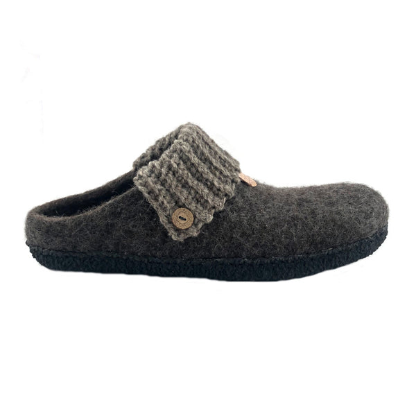 Men's Wool Felt Scuff Slippers LEATHER Sole