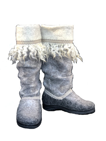 Women's Wool Felt Tall Boots with Locks