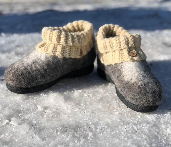 Women's Wool Clog with Knit Cuff