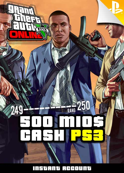 GTA 5 - 500 Mio. GTA$ + Rang 250 Account - PS3