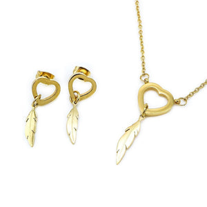 Open Heart with Feather Earrings and Necklace Set