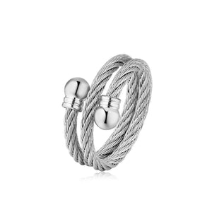 Double Twisted Cable Adjustable Ring with Balls on End