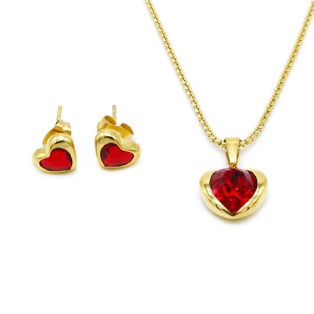 Heart Swarovski Earrings and Necklace Set