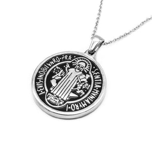 St.Benedict Medallion with Rolo Chain Necklace
