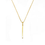 Halle Gold Plated Thin Drop Bar Pendant in Rolo Chain Necklace