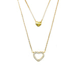 Heize Gold Plated Polished and Open Heart Layered Necklace